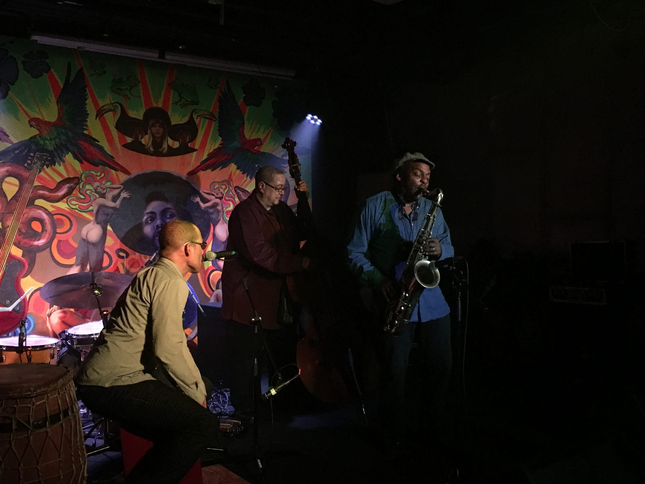 Kahil El'Zabar, David Murray and Harrison Bankhead perform at Tropicalia. Giovanni Russonello/CapitalBop