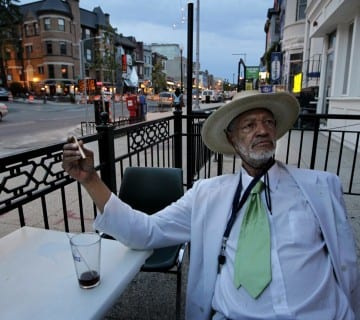 Master bassist Butch Warren takes a breather outside Columbia Station, in Adams Morgan. Courtesy Ray Strange