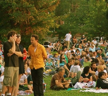 The crowd at Fort Reno during a 2009 show. Courtesy brightestyoungthings.com