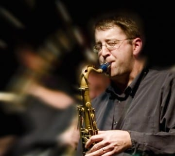 Andrew Bishop performs at the Atlas Performing Arts Center on Friday with Gerald Cleaver and Tim Flood. Courtesy University of Michigan
