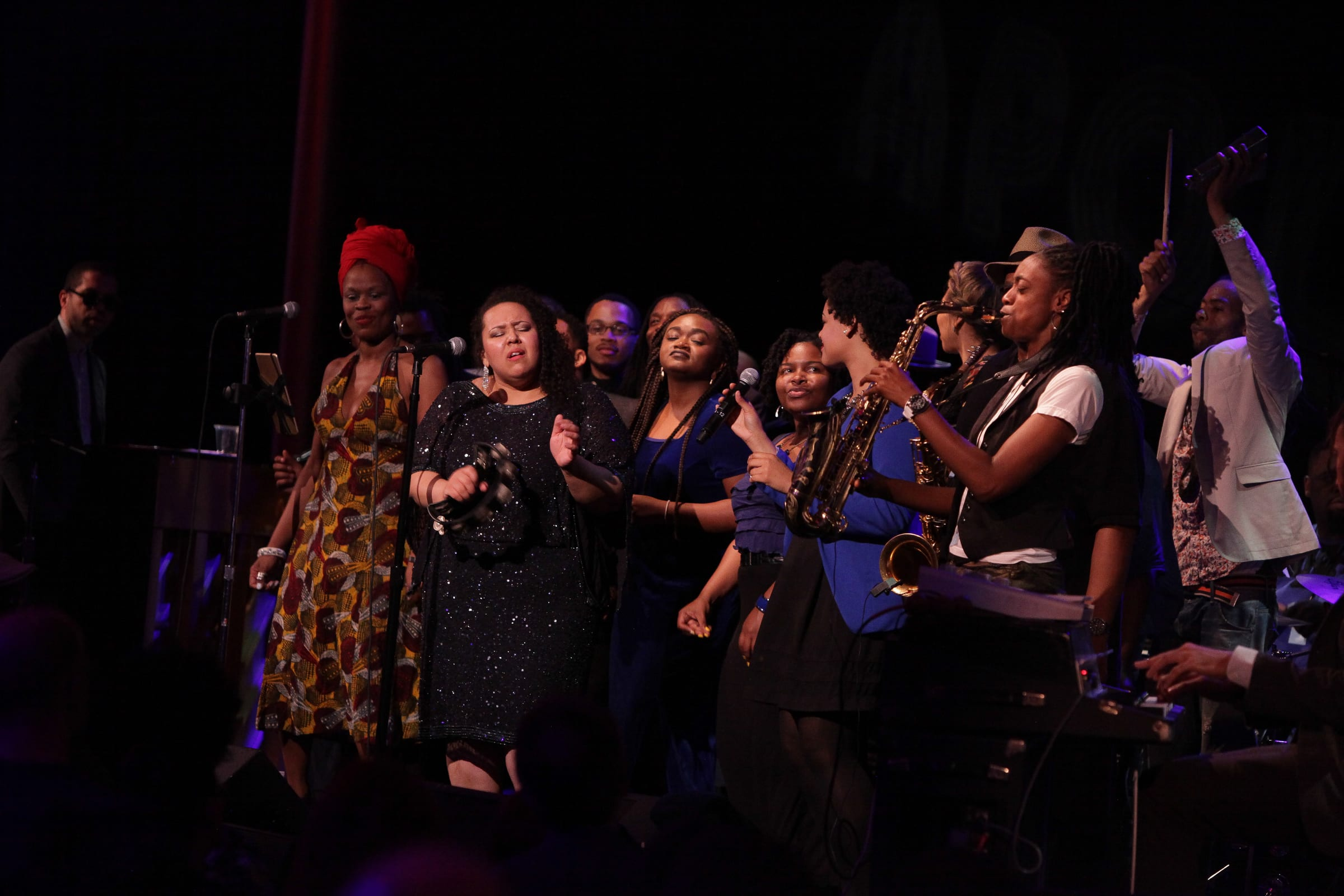 Afro Blue performs with guests Queen Esther, Brianna Thomas and Lakecia Benjamin. Courtesy Jati Lindsay/Kennedy Center