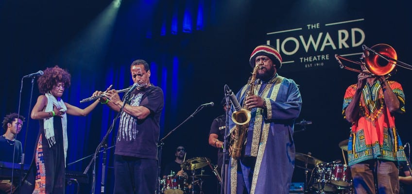 Kamasi Washington and his band, featuring his father, Rickey, making a guest appearance on flute. Courtesy Gezaw Tesfaye