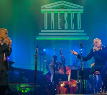Gregoire Maret, D.C. native Ben Williams and Dee Dee Bridgewater perform at the 2015 International Jazz Day. Courtesy International Jazz Day/Facebook