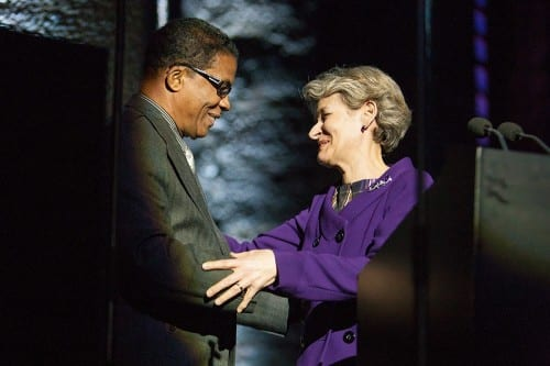 Herbie Hancock and UNESCO Director-General Irina Bokova. Courtesy International Jazz Day/Facebook