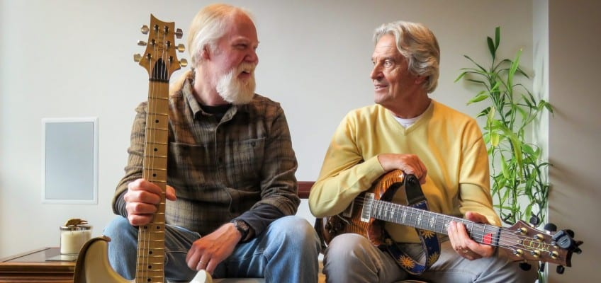 John McLaughlin, right, is on tour with fellow guitar virtuoso Jimmy Herring. Courtesy Prana Marketing