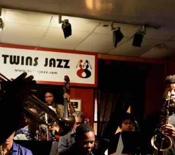 Thad Wilson, far left, has led his boldly expressive jazz orchestra since 1998. The group is celebrating its 20th anniversary with a special concert this week at Bethesda Blues & Jazz. Courtesy Stephanie Vadala