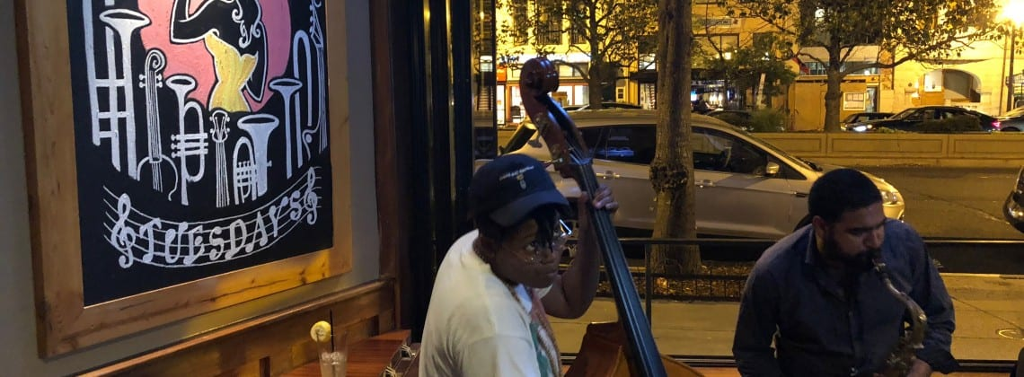 Bassist Clarissa Corey-Bey and saxophonist Tissa Khosla perform at a recent installment of Tune-In Tuesdays at Maddy's. Courtesy Elijah Jamal Balbed