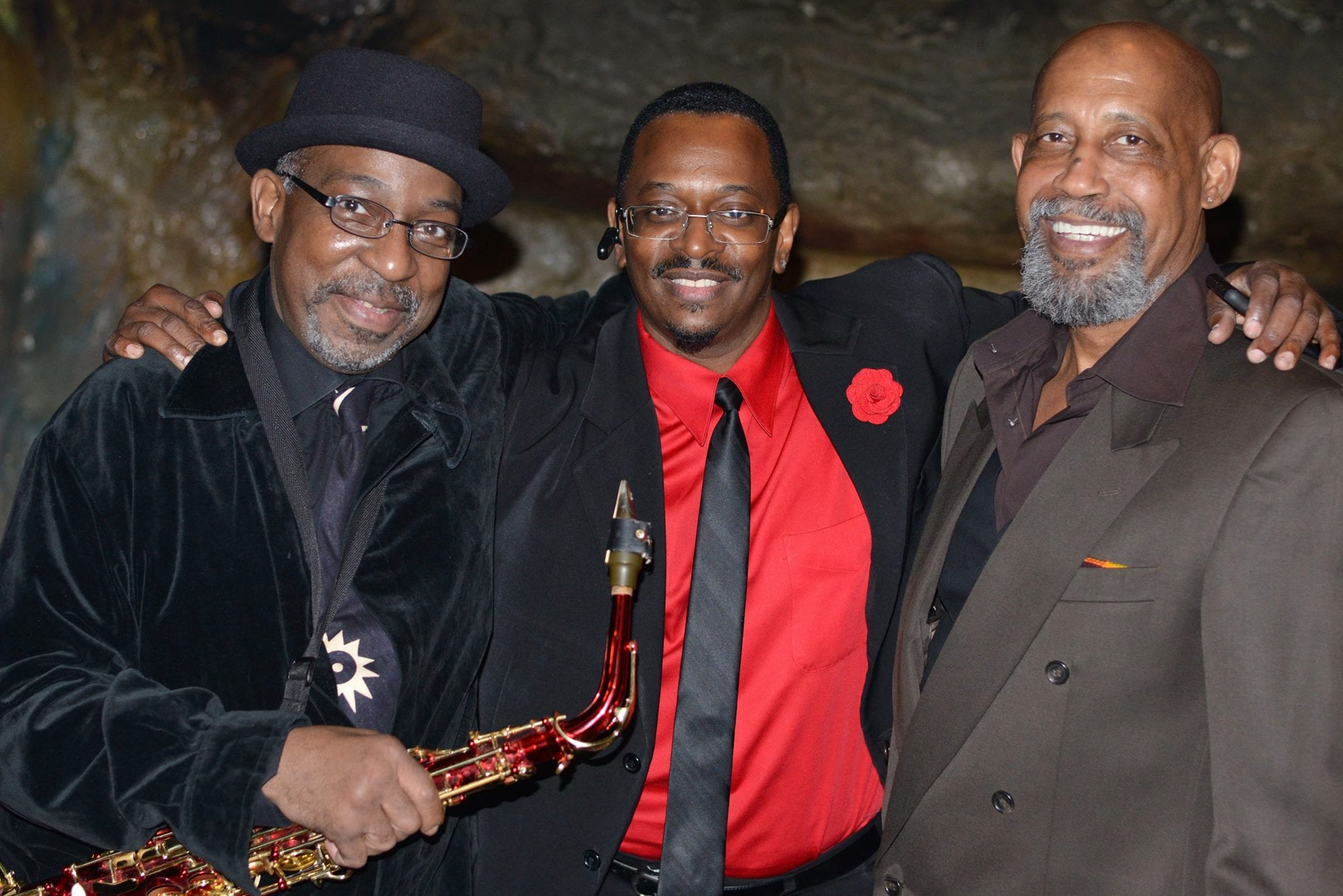 Ron Sutton, Frankie Addison and George V. Johnson at Bohemian Caverns in 2015. Courtesy Lawrence A Randall