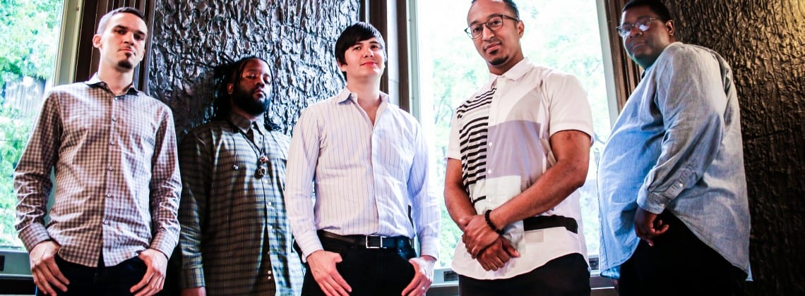 Mark G. Meadows, second from right, with the members of his band, the Movement. Courtesy dcjazzfest.org