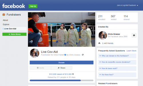 The 'Live Cov-Aid' page/Courtesy Facebook